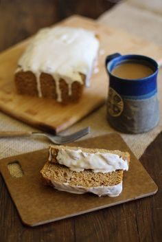 Gluten Free Pumpkin Bread with Maple Vanilla Chai Frosting - naturally sweetened, dairy-free and healthy!   - - - > http://www.theroastedroot.net