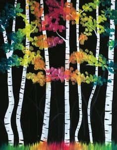 Birch Trees could be made of sheet music. Classroom Art Projects, Winter Art Projects, Winter Crafts For Kids, Autumn Crafts, Autumn Art, Art For Kids, Collage Kunst, 2nd Grade Art, Landscape Quilts