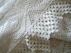 Beautiful Vintage White crocheted Bedspread by FrenchVintageHouse