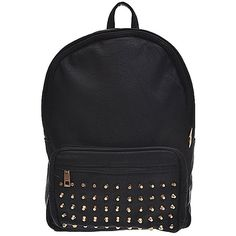 Studded Backpack in Black ($50) ❤ liked on Polyvore featuring bags, backpacks, accessories, bolsas, bolsos, leather rucksack, real leather backpack, leather knapsack, faux leather rucksack and faux-leather backpacks