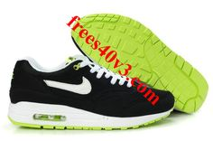 Cheap Nike Free US Size for Sale Mens Nike Air Max 1 Black Volt White Shoes [nike free for sale - Nike Air Max 2012, Cheap Nike Air Max, Nike Air Max For Women, Nike Shoes Cheap, Nike Free Shoes, Mens Nike Air, Nike Men, Cheap Sneakers, Black Sneakers