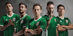 The new Mexico 2016 Copa America home kit is green with subtle accents, making for a modern classic. Felicidades a la Seleccíon de México for winning it's Major Title and it's CONCACAF Confederation Championship. Mexico Jersey, Mexico Team, Mexico Soccer, Mexico 2017, Copa Centenario, Copa America Centenario, Ufc, Rose Gold Adidas, Football Mexicano