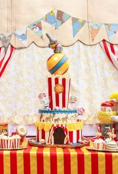 Amazing Party Cake From Dumbo Circus Birthday Bash At Kara S Party Ideas Circus Birthday Carnival Birthday Parties Circus Birthday Party Decorations