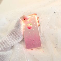 Pink Peach Strawberry Bling Glitter Soft Gel Case Cover For Iphone 8 6S 7 7Plus