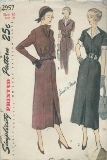 An original ca. 1940's to 1950's Simplicity Pattern 2957.  Gathers at the waistline release fullness in the bodice. The four gored skirt is styled with a kick pleat in front. Styles 1 and 3 have a shaped self belt and Style 2 has a purchased belt. The long sleeves in Style 1 have slits with pointed extensions at the lower edge. In Styles 2 and 3 the sleeves are short. Contrasting detachable collar and cuffs are worn over the self collar and cuffs in Style 2. Style 3 has a contrasting...