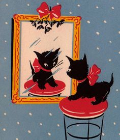 Vintage Art Deco 1930s Merry Christmas Kitten Looking At Reflection In The Mirror Playing Greetings Card (B5)