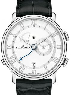 Blancpain Villeret Reveil GMT 6640-1127-55B.Self-winding movement with 45 hours power reserve, Alarm, Double Timezone, white dial, 30M water resistance