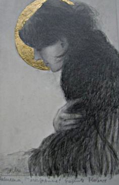 Original graphite and gold leaf drawing by Sasha Kinens.