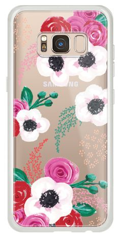 Casetify Galaxy Classic Snap Case - Pretty Red Posy flowers by Christine Gardner