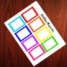 Scalloped Full Size BoxesPLANNER STICKERS |Perfect For your Erin Condren, Filofax , Kiki K, Plum Paper, Carpe Diem and other planner