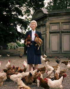 Dowager Duchess of Devonshire  with hens - photographed by Harry Borden. Gardenista.
