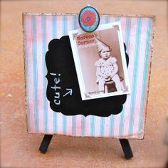 This fun little easel does double duty as a chalkboard and clipboard. So many uses!