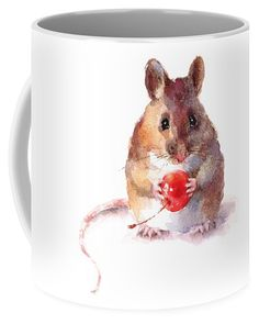 Watercolor Coffee Mug featuring the painting Mouse by Maria Stezhko