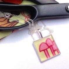 Fabric pendant, toadstool design necklace, square fabric pendant necklace. - pinned by pin4etsy.com