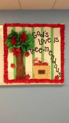 """""""SuperSib you are Tree-mendous"""" and I Iike the stripes behind the tree Apple Bulletin Boards, September Bulletin Boards, Religious Bulletin Boards, Christian Bulletin Boards, Kindergarten Bulletin Boards, Classroom Bulletin Boards, Apple Classroom, Classroom Door, Christian Preschool"""