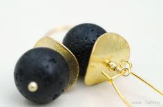 Earrings  Lava Rock and Sterling Silver Gold by SunSanJewelry