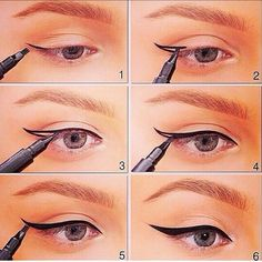 Winged Eyeliner Tutorials - How to Apply Winged Eyeliner?- Easy Step By Step Tutorials For Beginners and Hacks Using Tape and a Spoon, Liquid Liner, Thing Pencil Tricks and Awesome Guides for Hooded Eyes - how to do winged eyeliner Eyeliner For Beginners, Makeup Tutorial For Beginners, Winged Eyeliner Tutorial, Winged Liner, Simple Eyeliner Tutorial, Winged Eyeliner Tricks, Applying Eyeshadow, Perfect Eyeliner, How To Apply Eyeliner
