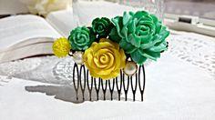 Cabochon utopia bridal bride hair pin comb romantic vintage modern flowers antique victorian yellow pearl green bohemian lolita filigree by AdoredByYou on Etsy