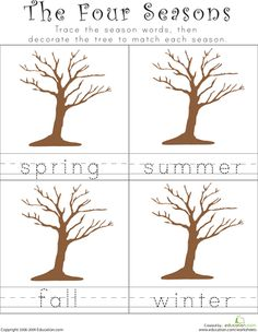 collage and writing activity: the Four Seasons