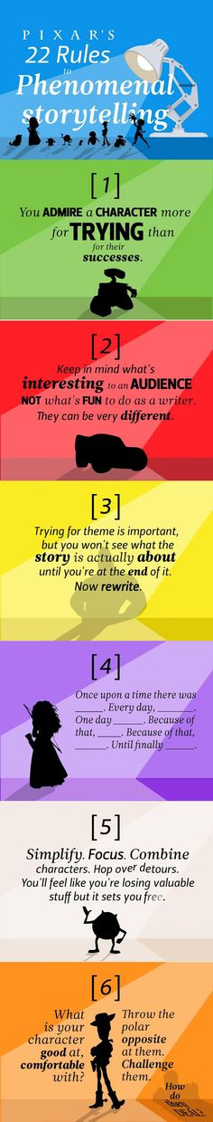 Pixar's 22 rules to phenomenal storytelling.
