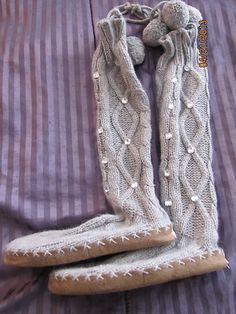 Victorias Secret BLING GRay Bootie Slipper Boots Shoes Cable Knit