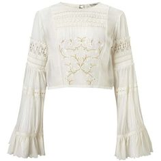 Miss Selfridge PREMIUM Embroidered Bell Sleeve Blouse (127.850 COP) ❤ liked on Polyvore featuring tops, blouses, shirts, crop top, cream, white crop shirt, embroidered blouse, bell sleeve shirt, white rayon blouse and white blouses