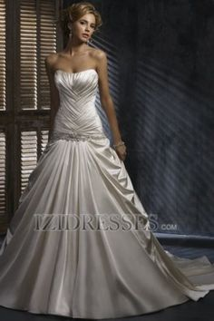 A-Line Strapless Sweetheart Satin Wedding Dress - IZIDRESSES.COM