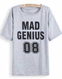 Grey Short Sleeve MAD GENIUS 10 Print T-Shirt