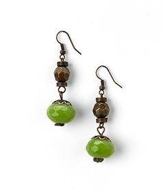 Jade Stone Drop Earrings