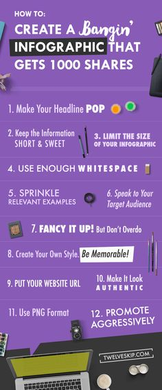 Want to get noticed? Use infographics! Here are some tips and tricks for creating an infographic that gets 1000 shares. Click the photo above for the whole article!