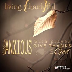 Thankfulness is not a temporary attitude or mindset. God meant for it to be a lifestyle.  Philippians 4:6-7  Do not be anxious about anything, but in every situation, by prayer and petition, with thanksgiving, present your requests to God. And the peace of God, which transcends all understanding, will guard your hearts and your minds in Christ Jesus.