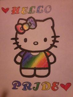 Gay Pride Hello Kitty :) Pride Means, Hello Kitty Tattoos, Lgbt Tattoos, Tatoos, Lgbt Love, Same Love, Taste The Rainbow, Porno, All Family