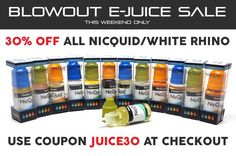 Take 30% off #NicQuid and #WhiteRhino #ejuice with coupon JUICE30 for a limited time! http://ezvaporizers.com/e-juice/cat_208.html