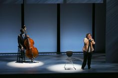 """Anna Deavere Smith with bassist Marcus Shelby in American Repertory Theater's """"Notes From the Field: Doing Time in Education."""""""