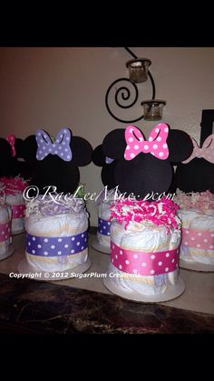 Minnie Mouse Diaper Cake Minis Baby shower or birthday by 661kara