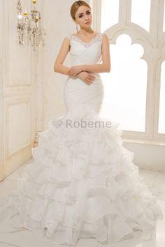 Robe de mariée naturel avec sans manches avec gradins de traîne moyenne de col en v