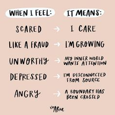 Here's a little cheat sheet to decode your feelings since all of our feelings serve a purpose. What are you feeling today? Developement Personnel, Stress, Expressions, Self Development, Self Esteem, Self Improvement, Self Help, Self Care, Quotes To Live By