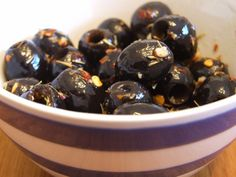 Homemade marinated olives from canned olives.