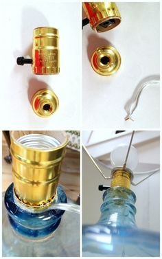 Check link...lots of ideas  Bottle Lamp