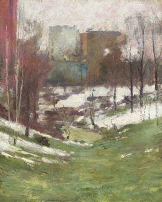 """Winter in New York City,"" Theodore Robinson, oil on canvas, 16 x 13"", ca. 1890s."