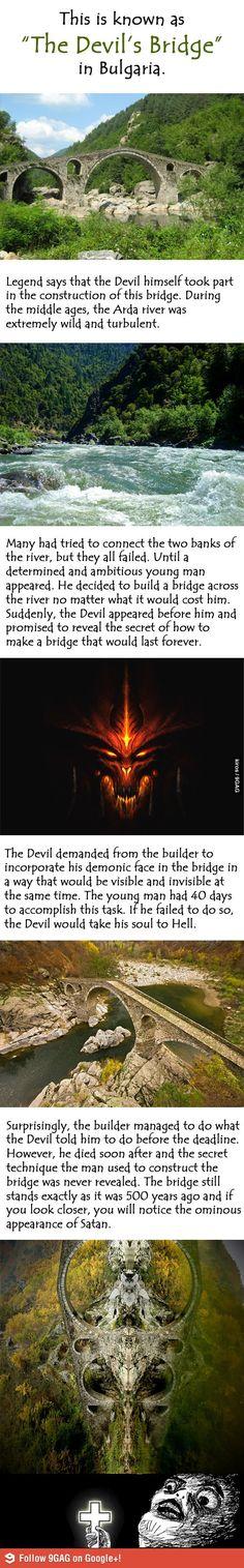 The Devil's Bridge in Bulgaria. The devil looks like Diablo. Creepy Stories, Ghost Stories, Fun Stories, Dark Fantasy, Weird Facts, Fun Facts, Random Facts, Satan, Que Horror