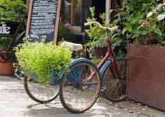 Image result for vintage bicycles in gardens
