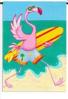 Tropical Pink Flamingo Surfer Dude Standard Flag Banner SF