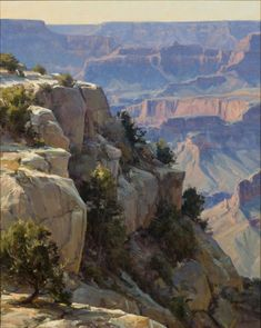Jackson Hole Art Auction: Clyde Aspevig - Overlooking the Grand Canyon Paintings I Love, Beautiful Paintings, Beautiful Landscapes, Mountain Landscape, Landscape Art, Landscape Paintings, Clyde Aspevig, Grand Canyon, Desert Art