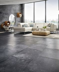 Ways To Decorate A concrete floors and back pain made easy Dark Tile Floors, Grey Flooring, Stone Flooring, Concrete Floors, Living Room Grey, Home Living Room, Living Room Designs, Living Room Decor, Dark Floor Living Room