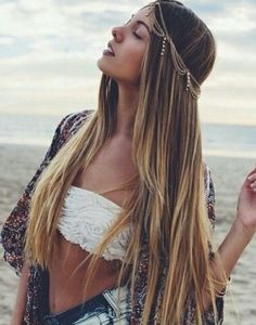 haircolor, head-piece,white textured top,deep colors cover up, bracelets,makeup, dyed shorts