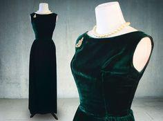 1960s Dark Green Velvet Evening Gown Sheath Dress Union Label