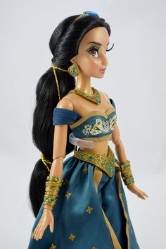Limited Edition Teal Jasmine 17'' Doll - US Disney Store Purchase - Deboxed - Standing - Midrange Left Front View