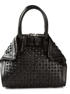 Alexander McQueen Black Studded Top-Handle Tote with Adjustable Shoulder Strap
