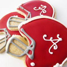 Alabama Football Helmet Cookies - I think we'll be making some KU ones soon :) Ransone Alabama Football Helmet, Football Helmets, Iced Sugar Cookies, Cupcake Cookies, Cupcakes, Football Cookies, Cookie Designs, Roll Tide, Royal Icing